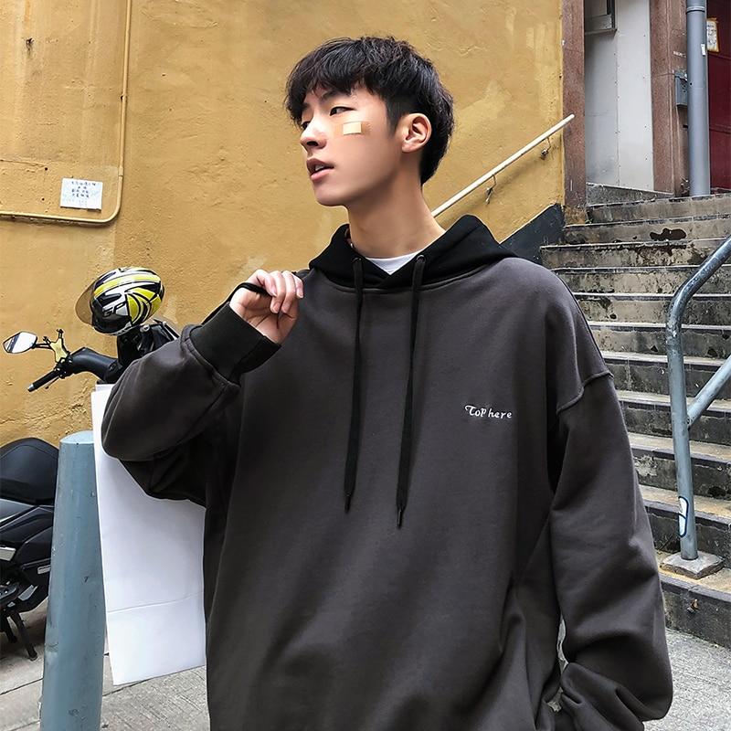 Primavera Bordado Color 2019 Jersey Contraste Capucha La De Grey Versión dark Casual Black Cartas Moda Nuevos Hombres Coreana Chaqueta Con 7dd8gqw