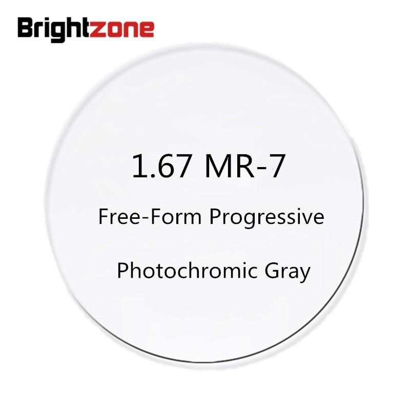 1 67 MR 7 High Index Super Thin Free Form Progressive Photochromic Gray No line AR