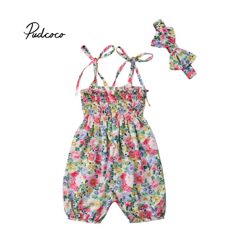 3cd948871b349 Brand 2pcs Set Newborn Baby Girls Summer Floral Sling Rompers +headhand  Baby Girls Flower Jumpsuit Clothes Outfits 2019