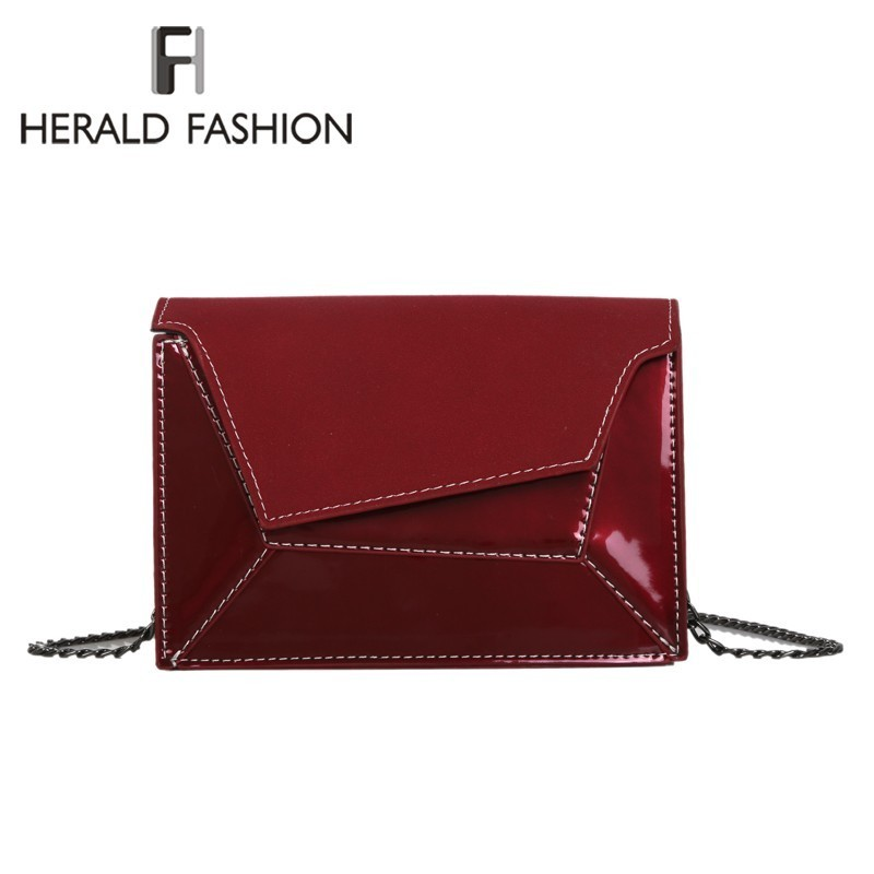Herald Fashion Patent Leather Patchwork Women Messenger Bag Female Chain Strap Shoulder Bag Small Criss-Cross Ladies Flap Bags Herald Fashion Patent Leather Patchwork Women Messenger Bag Female Chain Strap Shoulder Bag Small Criss-Cross Ladies Flap Bags