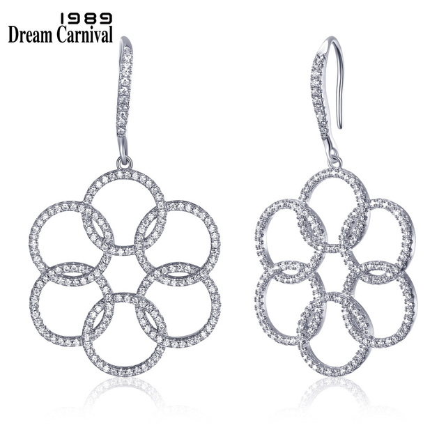 DreamCarnival 1989 Round Circle Jewelry Fashion CZ Stones Ladies Wedding Banquet High quality Clear White Hook Earrings SE09335R