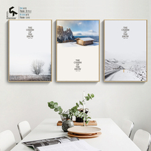 CREATE&RECREATE Nordic Poster Snow Road Tree Landscape Posters And Prints Wall Canvas Paintings Decorative Pictures CR1810105021
