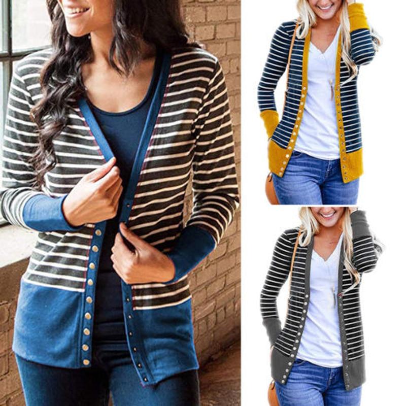 2020 Brand New Fashion Top  Women Knitted Sweater Long Sleeve Cardigan Knitwear Jumper Outwear Coat  Casual Strip Sweaters