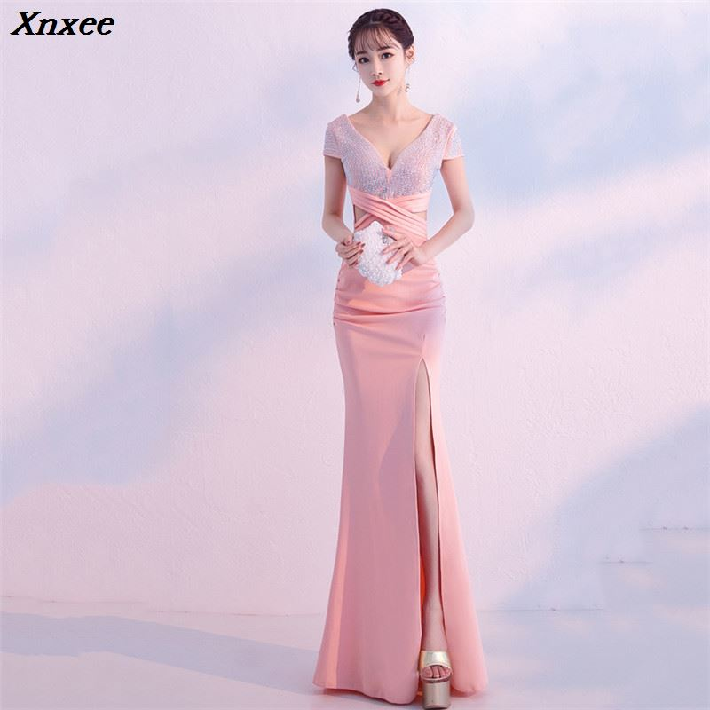 Xnxee Elegant Deep V Sequines Short Sleeve Waist Cross Long Mermaid Sexy Slit Formal Evening Party