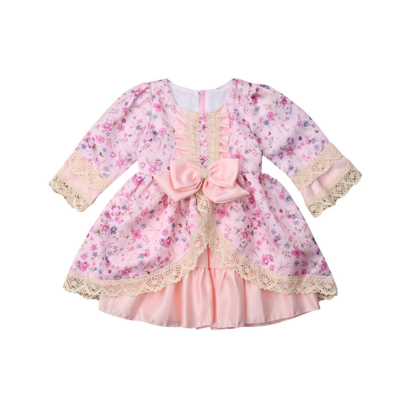 Adorable Toddler Kids Baby Girl Pageant Bowknot Lace Floral Swing Party Dress