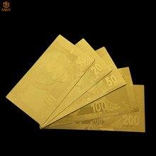 Lot de 5 pièces de billets en or pur d'afrique du sud 999, ensemble de billets de Collection en papier Rand 10/20/100/200