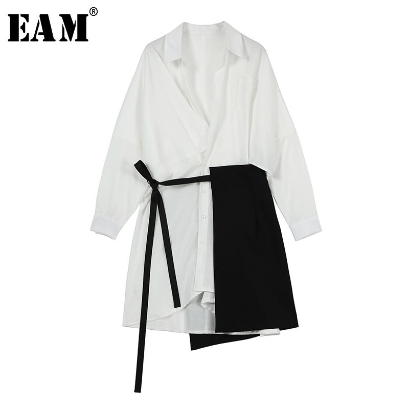 EAM 2019 New Spring Summer Lapel Long Sleeve White Loose Bandage Split Joint Two Piece