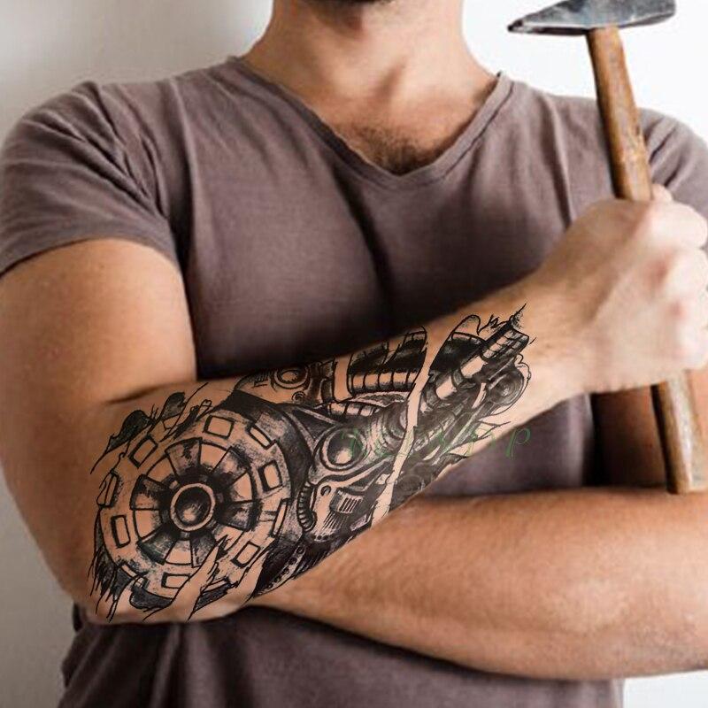 Waterproof Temporary Tattoo Sticker Gear Instrument Pipe Tatto Flash Tatoo Fake Tattoos For Men Male Women