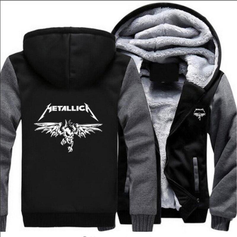 02bcc54ec36 Hoodies Velours rouge Zipper Épaississent Manteau light Casual Grey  Metallica hommes ardoisé Veste Femmes Taille 4 Imprimer Laine S Noir ...