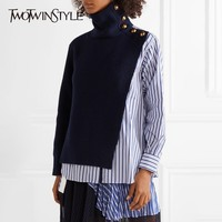 TWOTWINSTYLE Irregular Knitting Women's Sweater Long Sleeve Hit Colors Patchwork Striped Shirts Pullover Female 2018 Autumn New