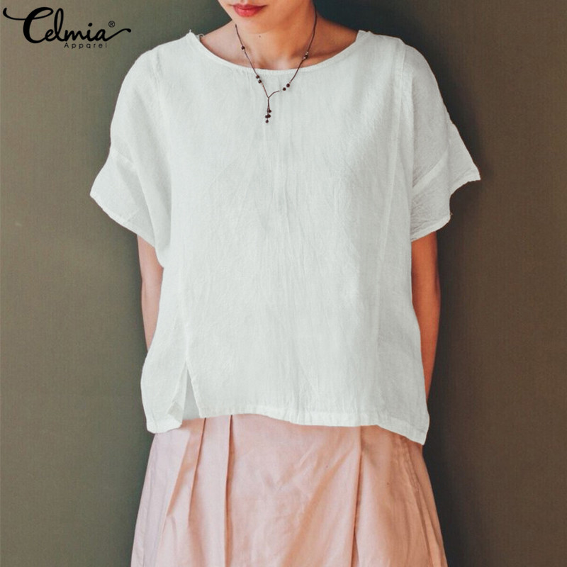 Celmia 2019 Plus Size Vintage Women Loose   Blouse     Shirts   Female Casual Batwing Sleeve Split Linen Blusas Femininas Plus Size Tops