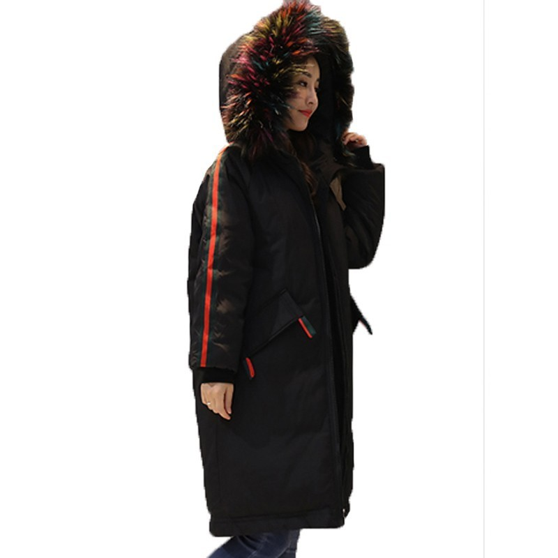 Colourful Big Hair Collar Thick Outerwear Down Cotton Padded Coat Female 2018 Korean   Parka   Casual Long Winter Jacket Women A576