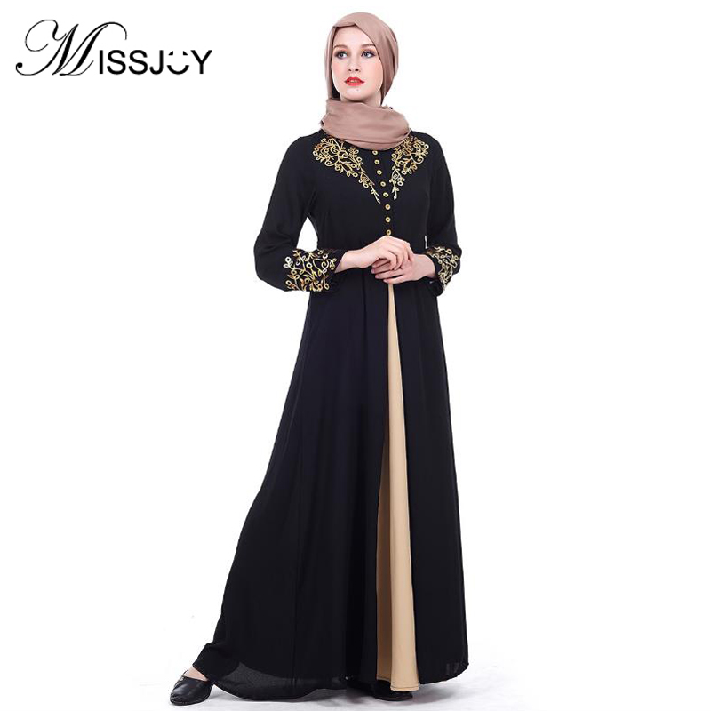 c730ac3fd0a07 HOT SALE] Luxury Embroidery Abaya Lace Stitching Muslim Maxi Dress ...