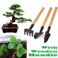 Мини-садовый набор инструментов, переносная лопата, лопата, грабли, лопата, садовый набор инструментов с деревянной ручкой, Детские уличные инструменты, 3 шт