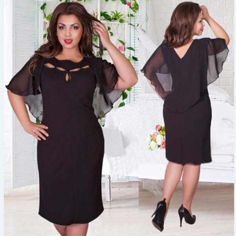 Plus Size Cocktail Dresses 2018 Short Sleeve Chiff...