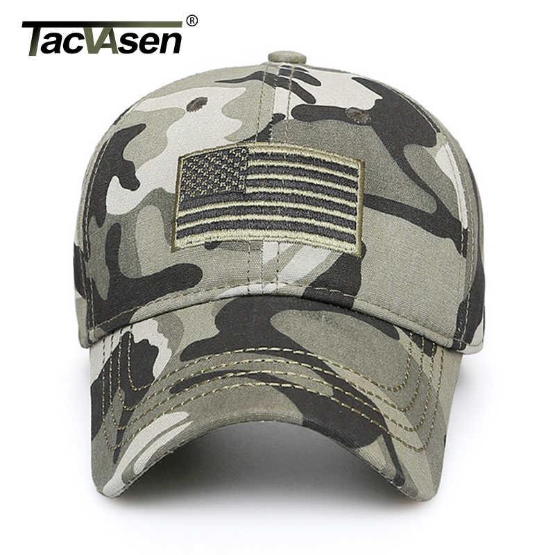 TACVASEN hombres gorra béisbol camuflaje bandera de Estados Unidos bordado del ejército de algodón táctico Snapback gorra a prueba de sol gorra de camionero militar de verano