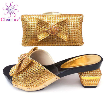 New Gold Color African women Shoes and Bags To Match Set Decorated with Rhinestone Italian Wedding Party Shoes and Bag Sets