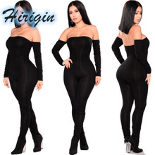 Summer Women Clothes 2019 New Sexy Ladies Off Shoulder Long Sleeve Black Jumpsuits Trousers
