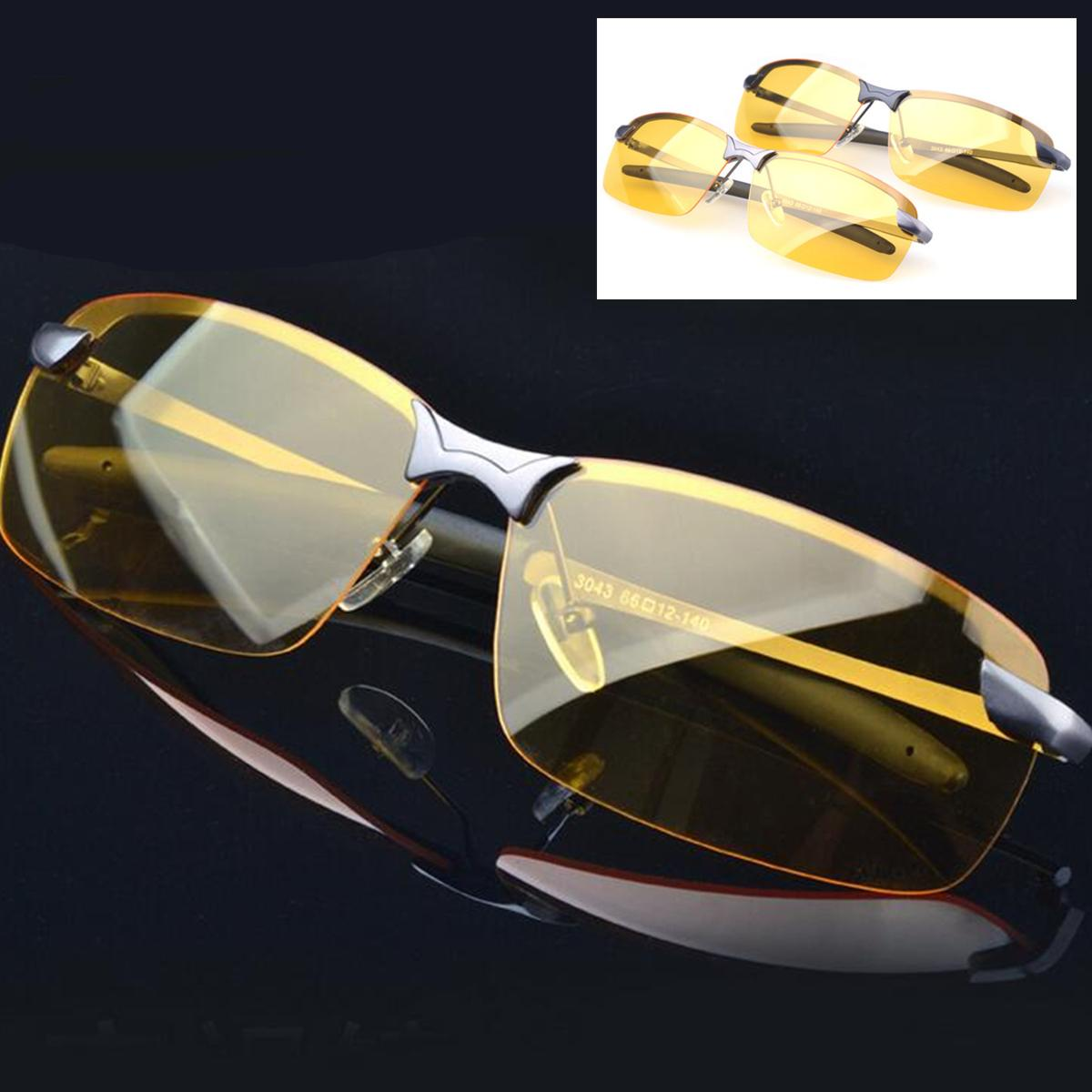 Men Driving Glasses Anti-Glare Yellow Sunglasses Eyewear Metal Night Vision Protection Polarized Glasses