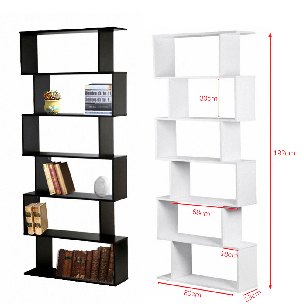 Panana Livingroom/ Study Room Book Shelf Creative Art Display 6 Shelves Bookcase Decorative Bookshelf Black
