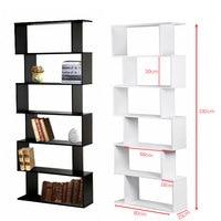 Panana Livingroom/ Study Room Book Shelf Creative Art Display 6 Shelves Bookcase Decorative Bookshelf White / Black