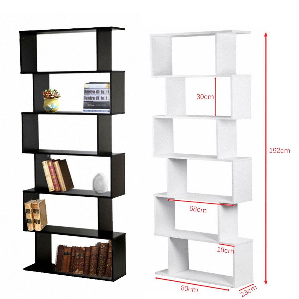 Panana Woonkamer/Studeerkamer Boek Plank Creatieve Art Display 6 Planken Boekenkast Decoratieve Boekenplank Wit/Zwart