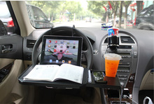 Portable Foldable Car Laptop Stand Seat/Steering Wheel Laptop/Notbook Tray Table Food/drink Holder SD-1508