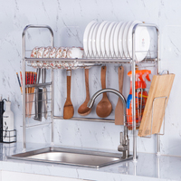 Kitchen Rack 304 Stainless Steel Shelf Single Tier Sink Hanging Hook Dish Storage Organizer Bottles Cans Holder Storage Tool
