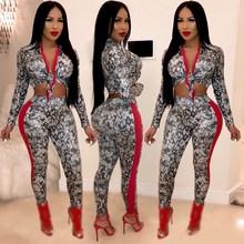 купить Two Piece Set Woman Crop Top And Pants Slim Sheath Snake Print Set V-Neck Sexy Bodycon Pants Set Club Outfit Party Set дешево