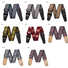 New 8 Colors Vintage Flowers Stripes Acoustic Electric Guitar Strap Woven Embroidery Fabrics Leather Ends Strap(China)