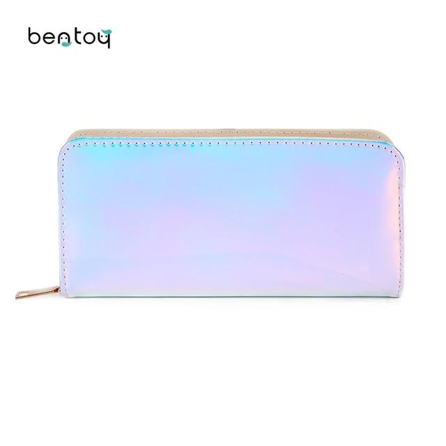 cde595fea De diseñador mujer billetera larga de cuero Carteras de holograma embrague  bolso de mujer damas dinero