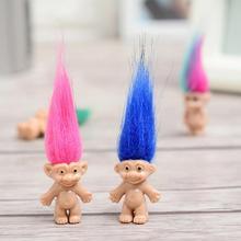 5 unids/set personaje de cuento de hadas Vintage muñeca Troll juguetes de plástico magia largo colores del pelo diablo muñecas para chico juguetes al azar