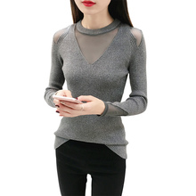 Autumn Winter Fashion O-neck Sweater Women Pullover Mesh Patchwork Knitted Pull Female High Elastic Sueter