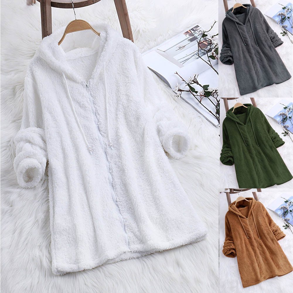 Women Autumn Long Sleeve Coat Fleece Zipper Fly Hooded Solid Color Sweatshirts solid long sleeve pullovers oversized hoodie