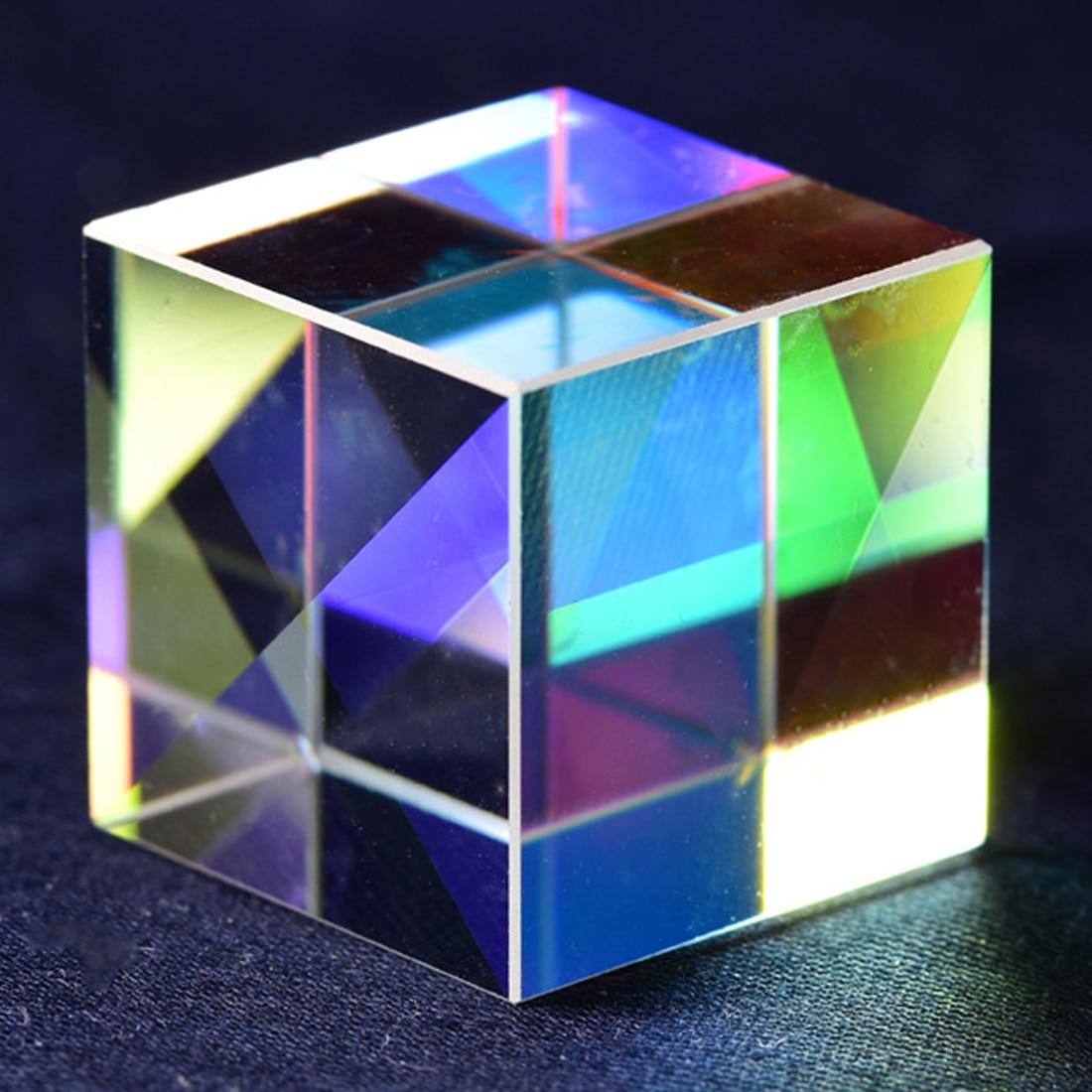 Transparent Module Optical Glass Toy K9 Cube Prism Defective Cross Dichroic Mirror Combiner Splitter Decor 18*18mm