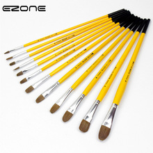 цена на EZONE Round Head Painting Brush Wolf Hair Pen Different Size Brush For Children Art Paint Supplies Watercolor Oil Paint Brush
