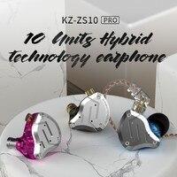 KZ ZS10 Pro Aptx HD Cable In Ear Earphones Hybrid 4BA+1DD Hifi Bass Earbuds Metal Headphone Sport