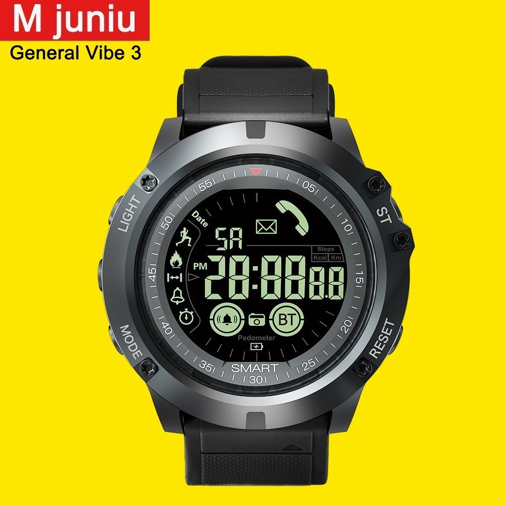 M-juniu EX17S smart watch GMT Two Places All-day Activity Record Sport  Information Reminder Men 1.24 Inch Display Smartwatch