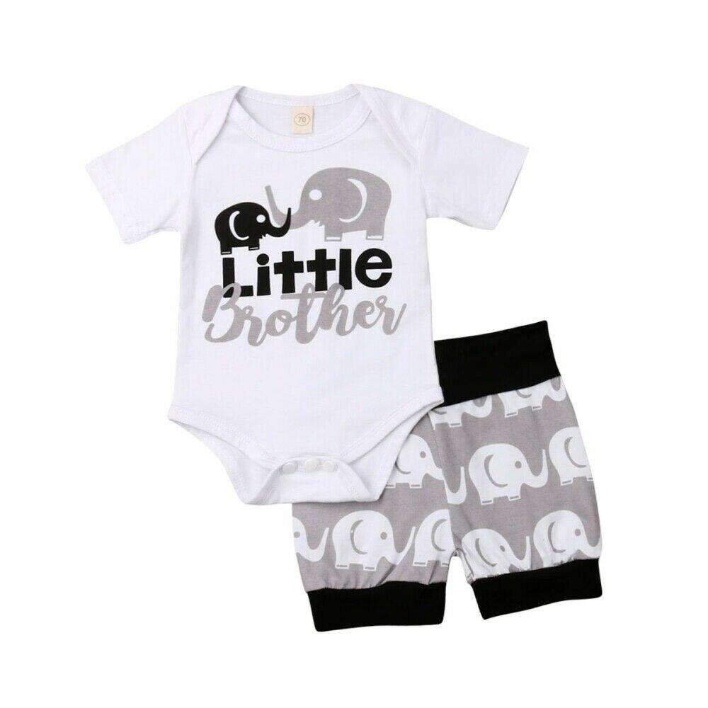 0-24 M Kleinen Bruder Neugeborenen Baby Boy Kurzarm Elefanten Baumwolle Strampler Tops Shorts Hose Bottom 2 Pcs Outfits Jungen Kleidung Set Angenehm Bis Zum Gaumen