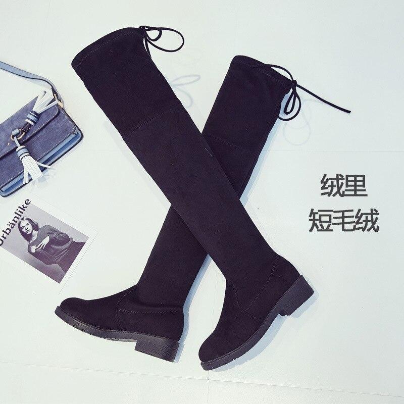 D'hiver Élastique Fond Augmenter Femmes Haute Lane Chaussures Plat Hiver Single Bottes velvet Femme Automne ECtqvv