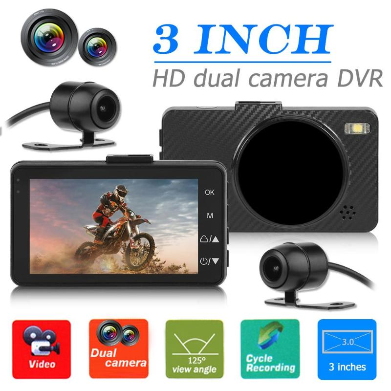 M0518 Motorcycle DVR Dash Cam 3 inch LCD Front Rear View Camera Recorder 125 degree Automatic