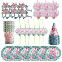 ZLJQ Mermaid Party Tableware Kit Supplies For Girls Birthday Baby Shower Wedding Decoration Cup Straw Balloon Plate Hat Glasses(China)