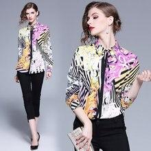 ad8d9feafae 2019 демисезонный для женщин взлетно посадочной полосы с длинным рукавом ПР  блузка дизайнер цветочным принтом повседневное рубаш.
