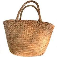b672c8d5a02 Toevallige Strozak Natuurlijke Rieten Tassen Vrouwen Gevlochten Handtas  Voor Tuin Handgemaakte Mini Geweven Rotan Zakken