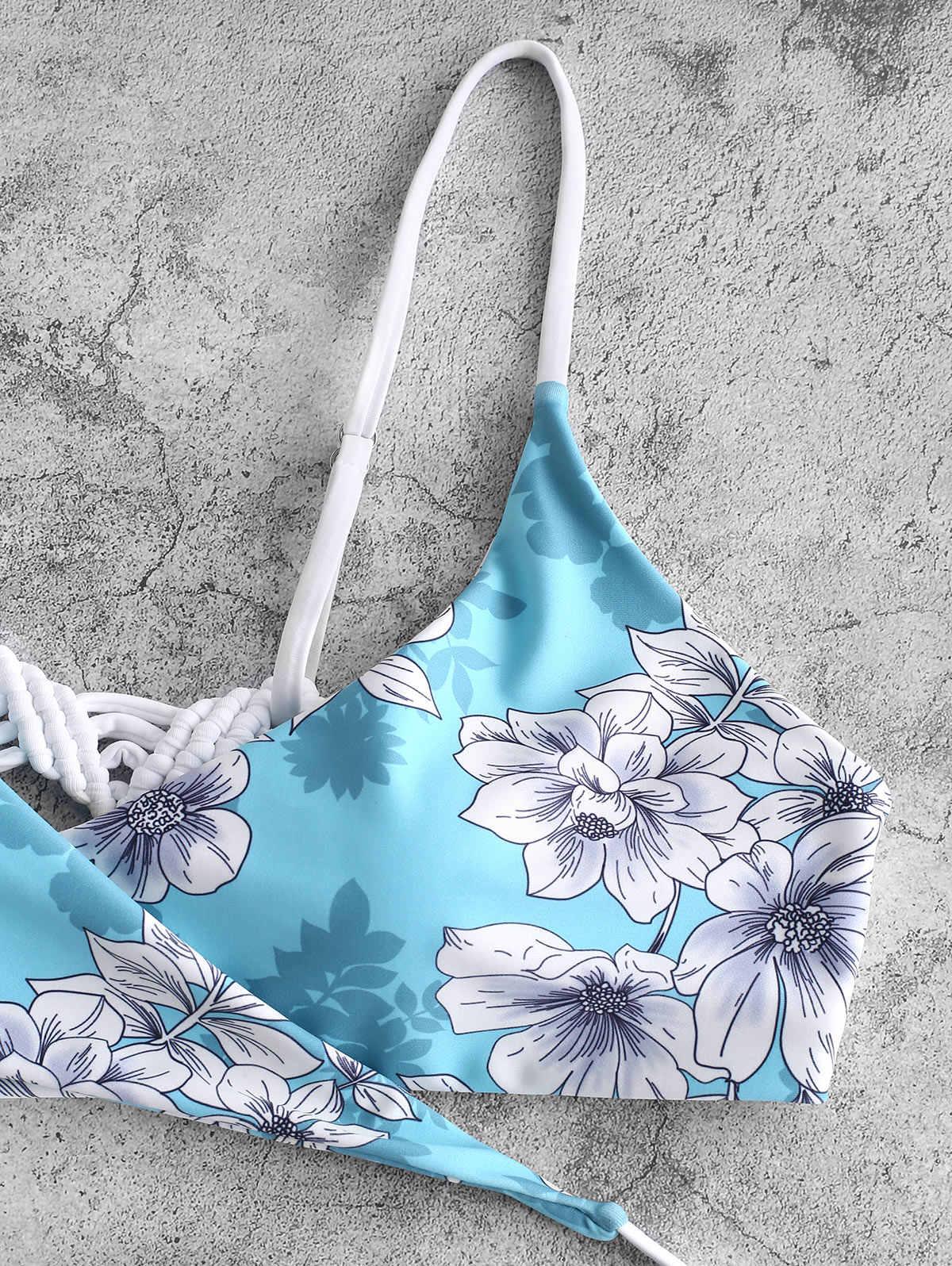 ZAFUL strój kąpielowy Bikini Set Sexy kobiety Bandeau strój kąpielowy wyściełane czechy drukowane plaża nosić Maillot De Bain Femme Stroj Kapielowy