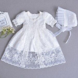 Детское свадебное платье с цветами для девочек, одежда для новорожденных на крещение малыша, платье трапециевидной формы на день рождения д...