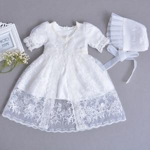 Платье с цветами для девочек на свадьбу, одежда для крещения новорожденных, платье А-силуэта на день рождения для маленьких девочек, детское...