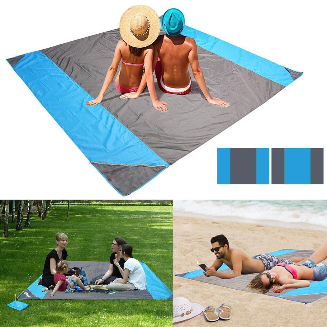 Tapis de pique-nique imperméable Portable couverture de plage en plein air gris noir, bleu carré Patchwork décontracté