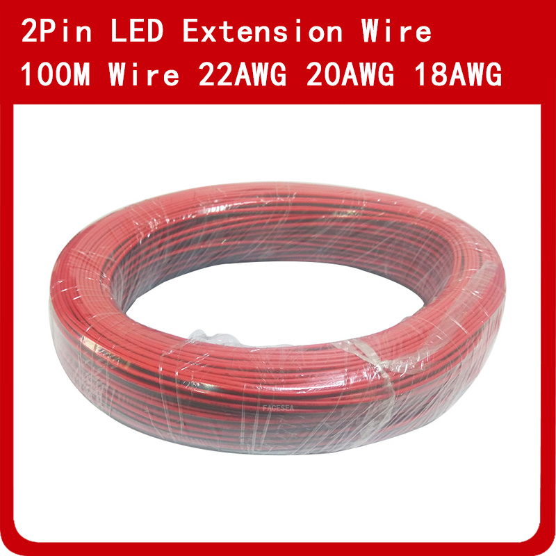 100m <font><b>2Pin</b></font> Electric Extension Wire Cable 18AWG <font><b>20AWG</b></font> 22AWG LED Connector Cord For Single Color LED Strip Light image