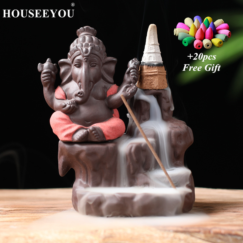 Благовония в форме Будды Ganesha + 20 бесплатных конусов, креативный держатель для благовоний Zen, буддийская кадильница, Декор для дома и офиса